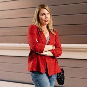 Red linen blend Everly blazer M from Vici medium